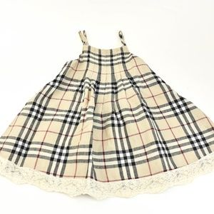 BURBERRY Beige Nova Check & Lace Sleeveless Dress